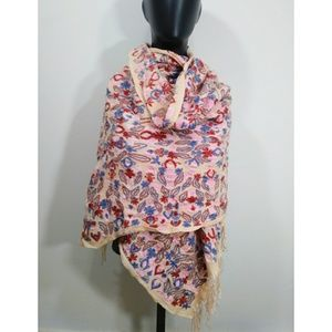 Accessories - Fully embroidered wool pashmina